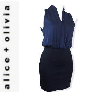 ALICE + OLIVIA Employed Navy Blue & Black Dress